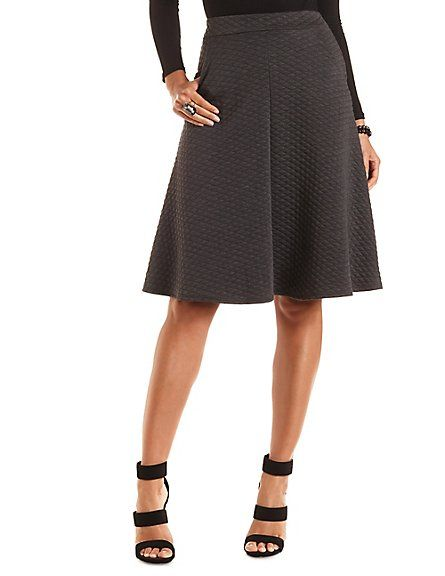 Quilted Full Midi Skirt with Pockets: Charlotte Russe