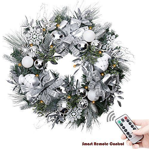 Prelit Christmas Wreath With Remote Control Led Lighted Ornaments