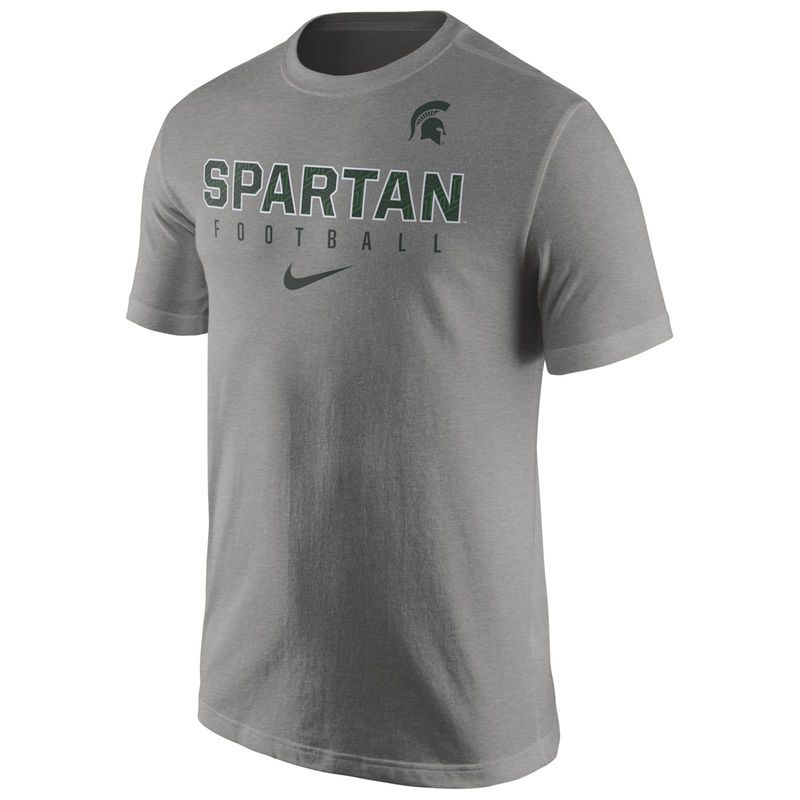 Michigan State Spartans Nike Football Practice T-Shirt - Gray