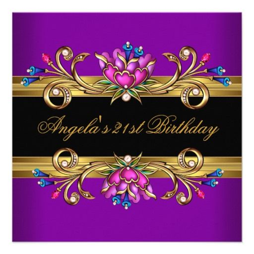 Purple and Black Party Backgrounds from 21st Birthday Purple - birthday invitation backgrounds