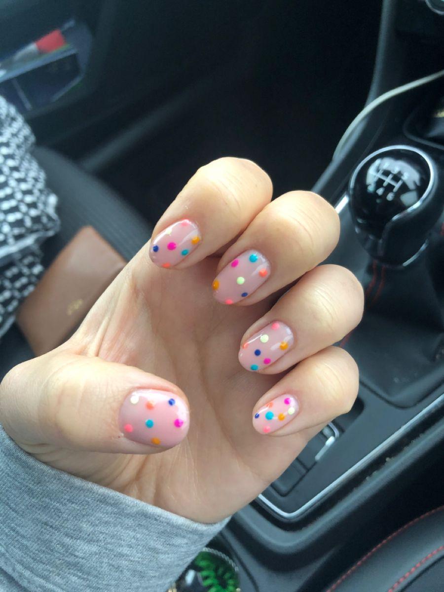 Polka Dot Biab Nails Short Gel Nails Multicoloured Nails Polka Dot Nails