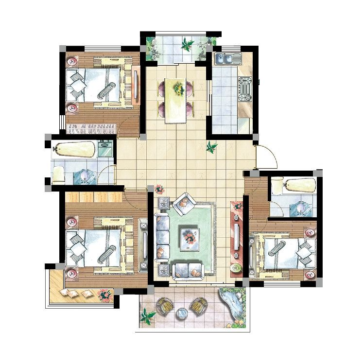 15 Types Of Interior Design Layouts Photoshop PSD Template