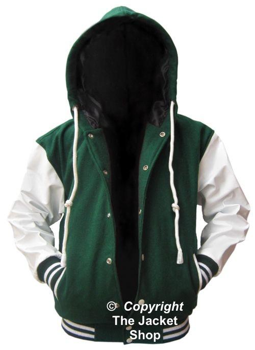 green white varsity lettermans hoody coat baseball jacket