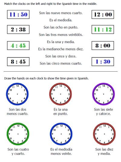 25 page worksheet packet on telling time in spanish plus seasons days months and weather. Black Bedroom Furniture Sets. Home Design Ideas