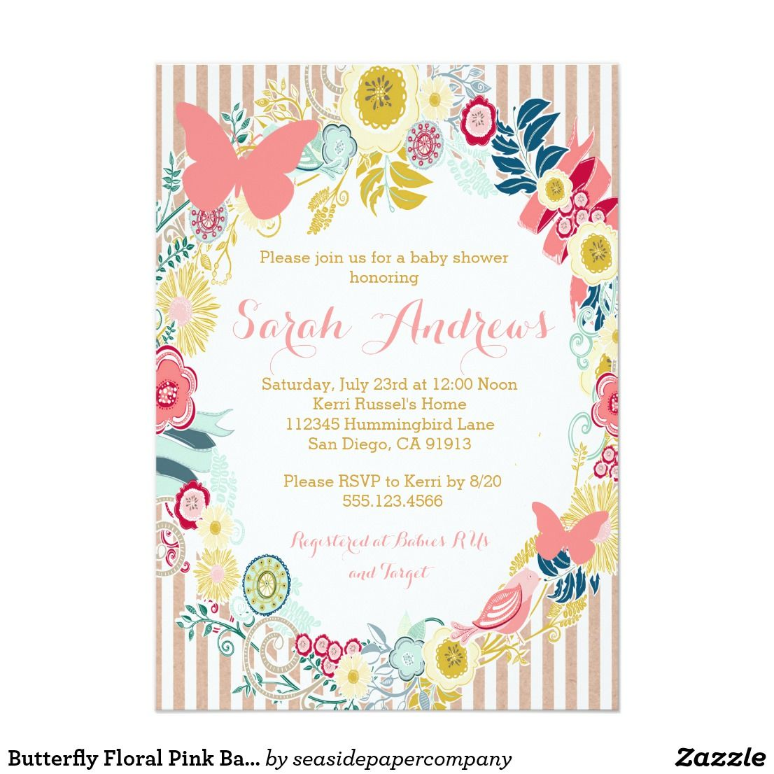 Butterfly Floral Pink Baby Shower Girl invitation | Pinterest ...