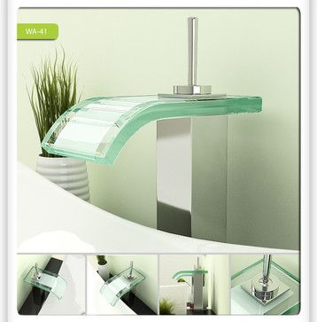 Glass Waterfall Bathroom Vessel Sink Faucet 0206A - modern - wasserhahn küche mit brause