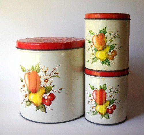 Vintage Metal Duck Canister Set | Vintage Red Apple Pear U0026 Cherry Metal Canister  Set |