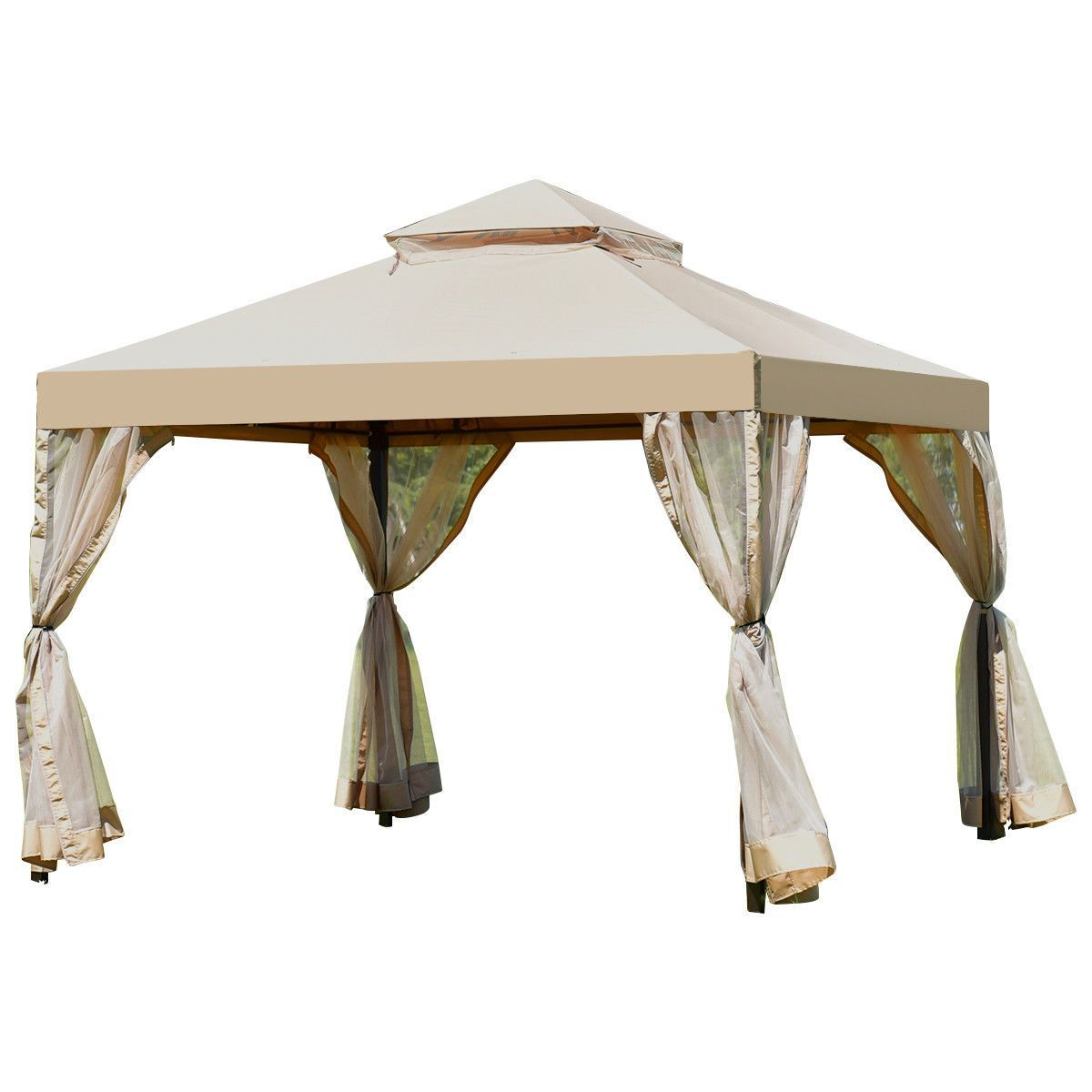 Outdoor 2 Tier 10 X 10 Shelter Awning Gazebo Canopy In 2020 Gazebo Canopy Steel Gazebo Gazebo