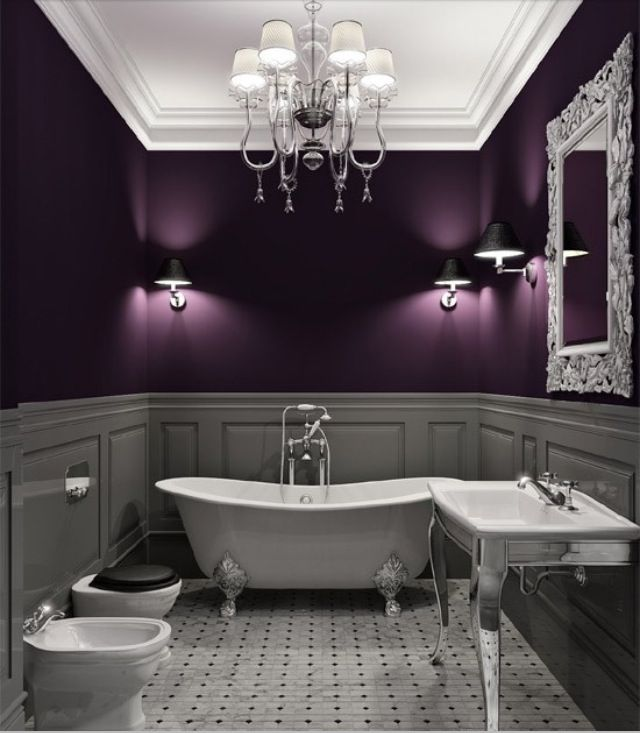 Exceptionnel Stark Contrast Between Plum/gray Two Toned Beadboard Walls And The White  Appliances. Purple BathroomsDream ...