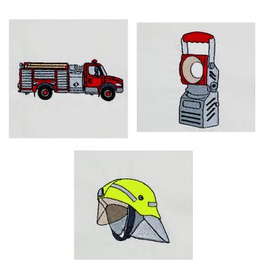 Feuerwehr & Feuerwehrauto Stickdatei auf www.gabrielles-embroidery.com