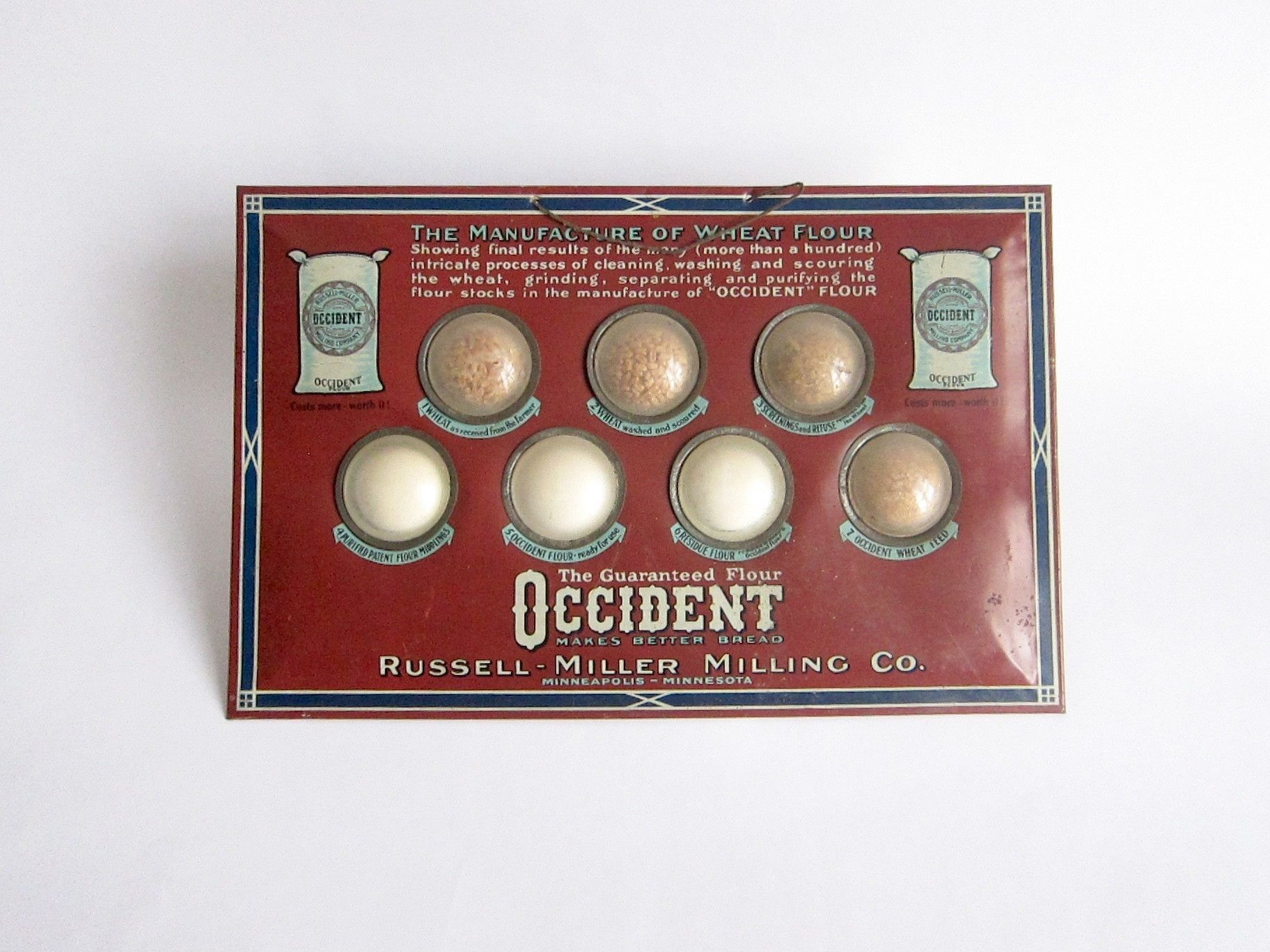Vintage Advertising Occident Wheat Flour Store Display Russell Miller Milling Co