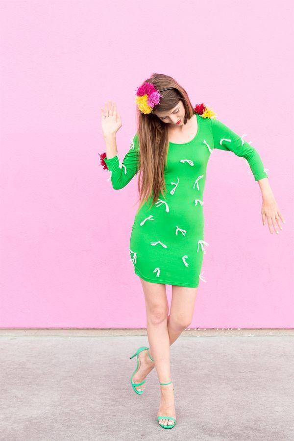 DIY Cactus Costume Cactus costume - green dress halloween costume ideas