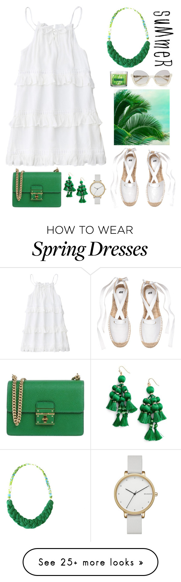 """White and Green"" by gicreazioni on Polyvore featuring Dolce&Gabbana, Kate Spade, Avon, Skagen, etsy, necklace and handmade"
