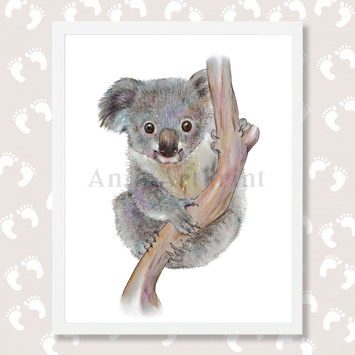 Koala Print Koala Bear Art Koala Watercolor Painting Nursery Decor