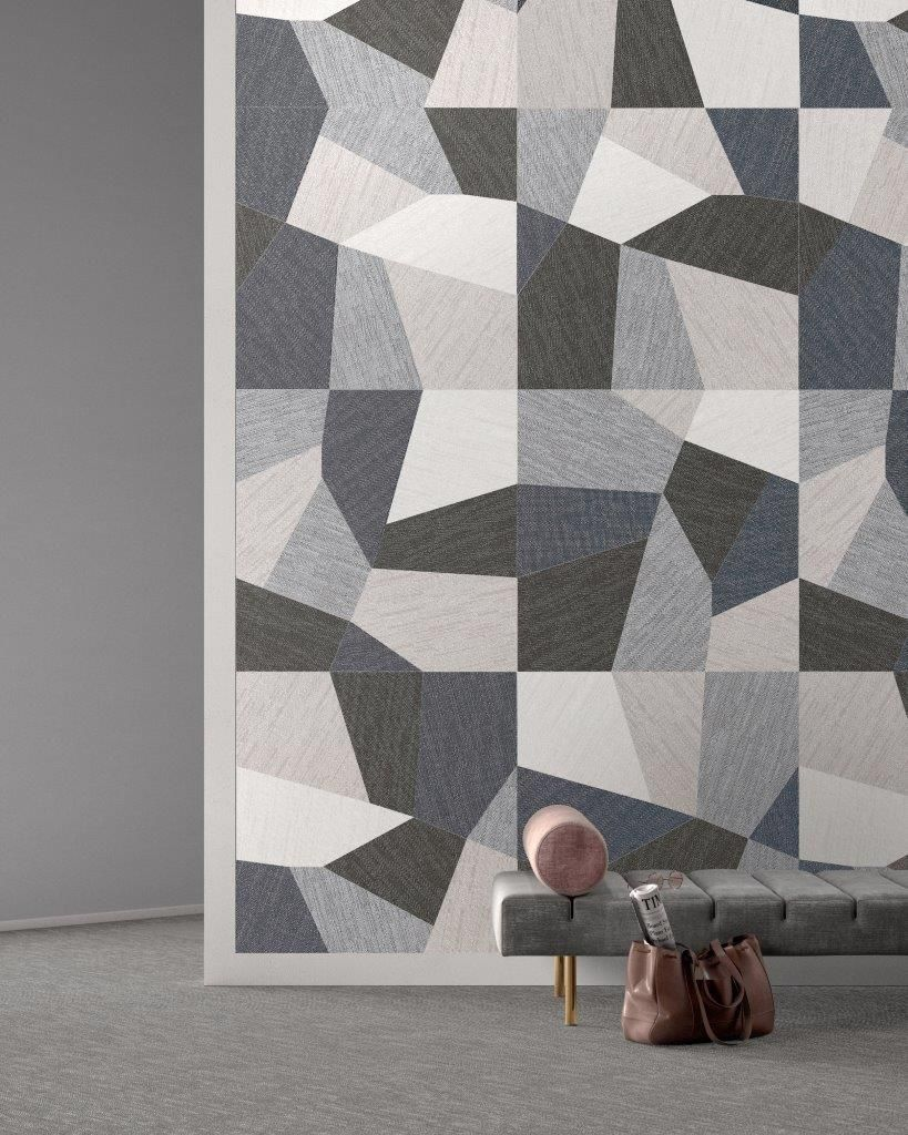 brand new! 'denim' porcelain fuses geometric design with a fabric