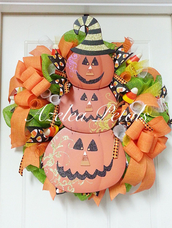 Candy Corn Jack O' Lantern Wreath, Halloween Pumpkin Wreath, Fall Door Hanger, Halloween Home Decor, Housewares, Halloween Wooden Sign by Azeleapetals on Etsy