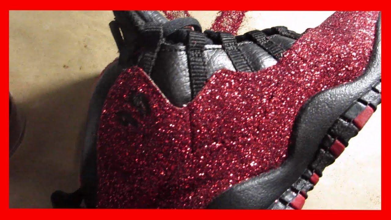 Red Glitter Jordan 10 Custom Glitter
