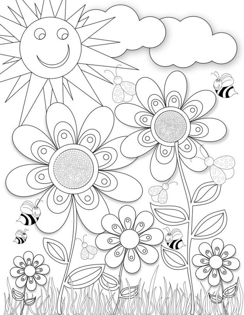 Flower Garden in 21  Flower coloring sheets, Flower coloring