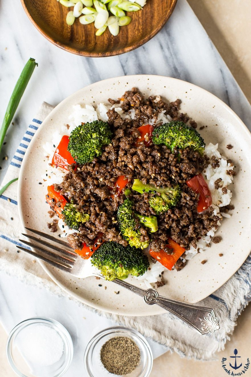 Korean Ground Beef With Broccoli And Peppers Recipe Recipes Food Beef Recipes