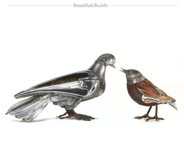 escultura animais materiais reciclados