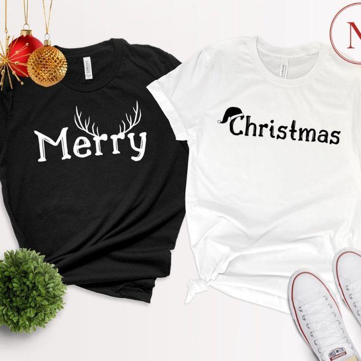 Merry Deer Shirt, Christmas Santa Hat Shirt, Merry Christmas Matching Shirt, Christmas Couple Shirt, Holiday Xmas Shirt Gift
