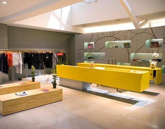 Simple Yellow Small Fashion Shop Interior Design Ideas