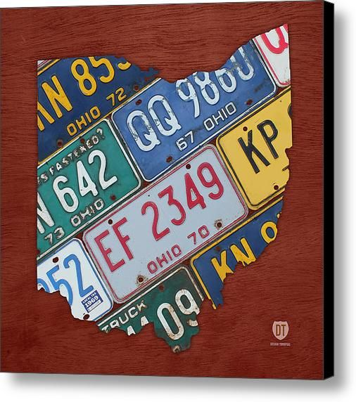 License Plate State Map.Ohio State Map Made Using Vintage License Plates Canvas Print