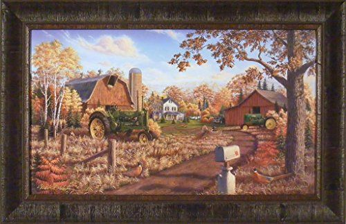 Autumn Gold by Mark Daehlin 18x28 John Deere Tractors Barn Farm Fall Colors Leaves Pheasants Framed Art Print Wall Décor Picture Home Cabin Décor