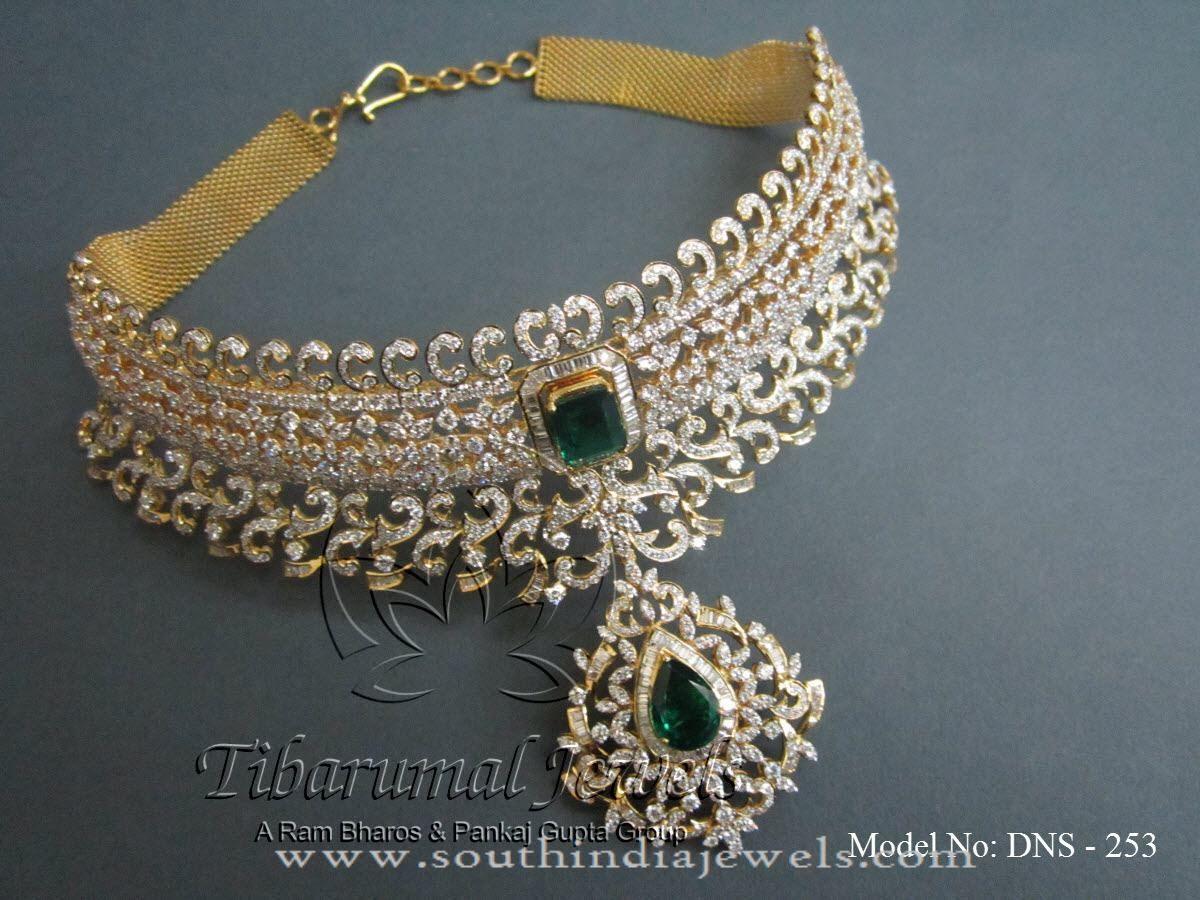 new model gold diamond choker necklace indian diamond