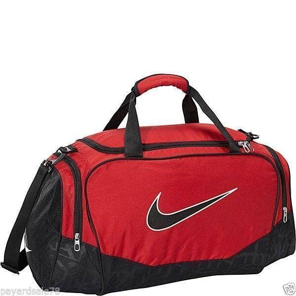 Medium Size Nike Duffle Duffel Bag Sports Travel Gym Red Black Brasilia Nwt