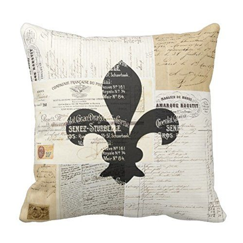 Vintage Fleur De Lis French Ephemera Pillow Case Personalized 18x18 Inch Square Cotton Decorative Throw Pillow Case Decor Cushion Covers Pillowcase for love http://www.amazon.com/dp/B014P7MPME/ref=cm_sw_r_pi_dp_PNraxb0SS9TN5