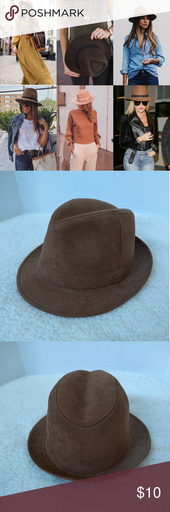 Brown Boho Chic Sued Fedora Hat Adorable Fedora hat can be paired with so many s… – My Posh Picks
