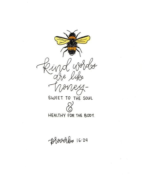 Handmade Wall Art Proverbs 16:24 honey bee verse calligraphy home decor