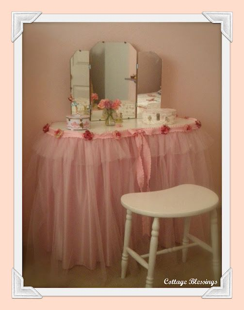 diy vanity for little girl. Cottage Blessings  A Vintage Vanity So cute for a little girls room Would