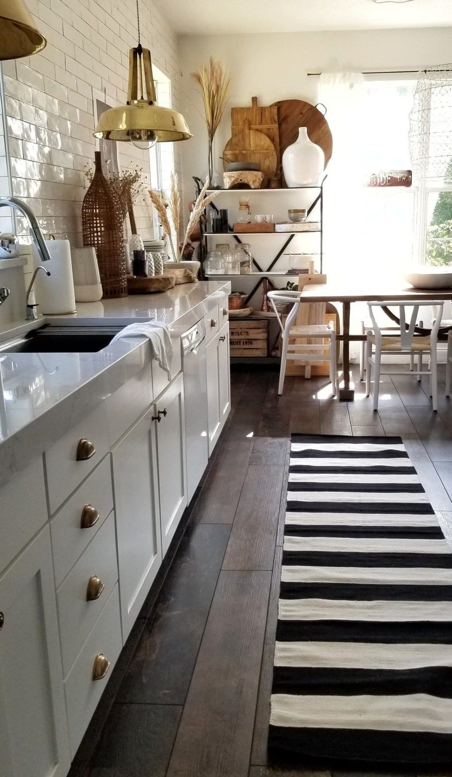 Kitchen And Flooring Renovation Reveal Industrial Vintage Modern And More Bees N Burlap White Modern Kitchen White Kitchen Makeover Kitchen Flooring