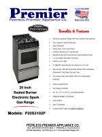 Premier P20S3102P 20 Inch Freestanding Gas Range with 4 Sealed Burners, Heavy Duty Cast Iron Grates, Linear Valves, 17,000 BTU Oven Burner, Interior Oven Light, Roll-Out Drop Door Broiler and 1.5 Inch Black Porcelain Vent Rail