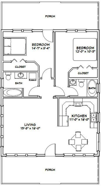 28x36 House 2 Bedroom 2 Bath Pdf Floor Plan 1 008 Sq Ft Model 1 House Plans Bedroom House Plans