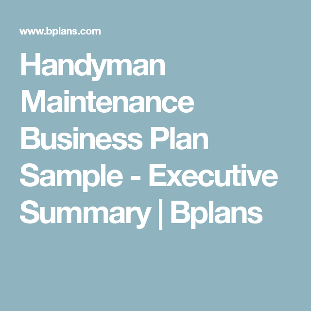 Handyman Maintenance Business Plan Sample  Executive Summary
