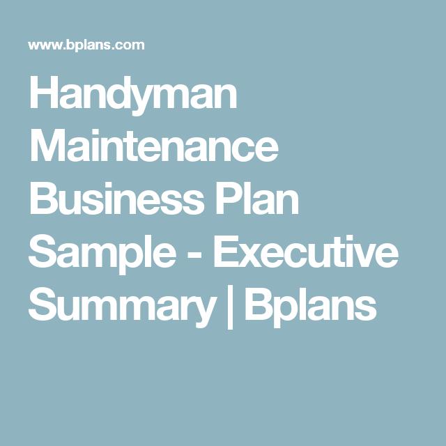 Handyman Maintenance Business Plan Sample Executive Summary