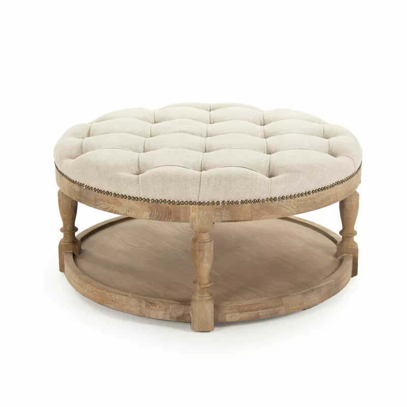 round upholstered ottoman coffee table
