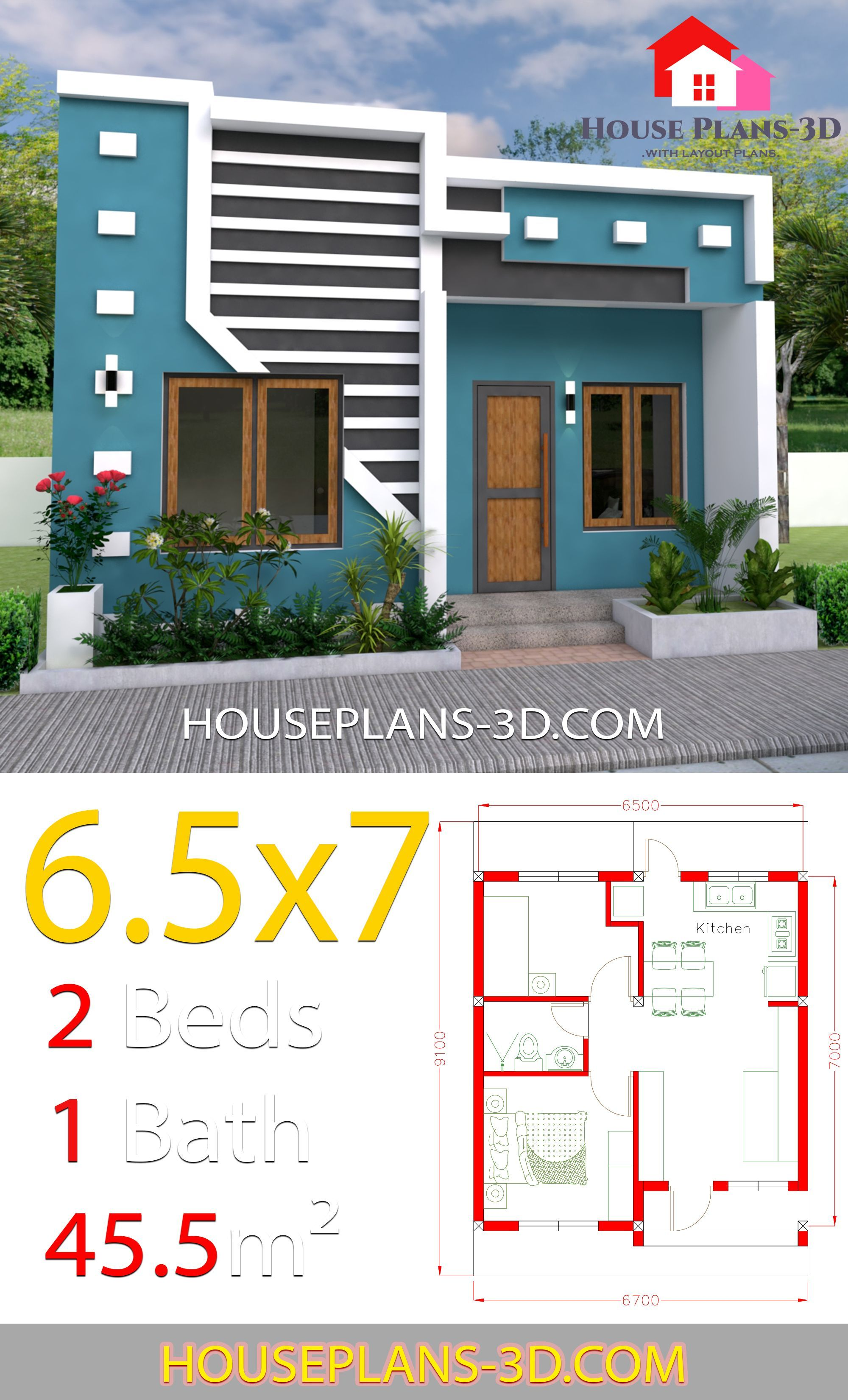 Small House Design 6 5x7 With 2 Bedrooms Full Plans Compactliving Small House Design 6 5x7 W Small House Design Small House Design Plans Small House Exteriors