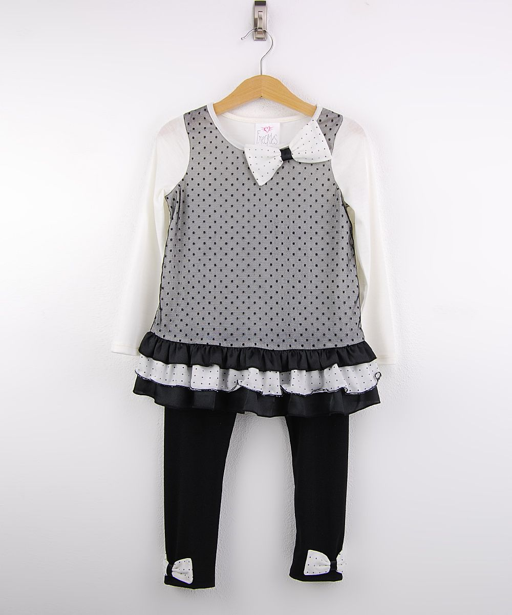 Cream & Black Ruffle Tunic & Leggings - Girls