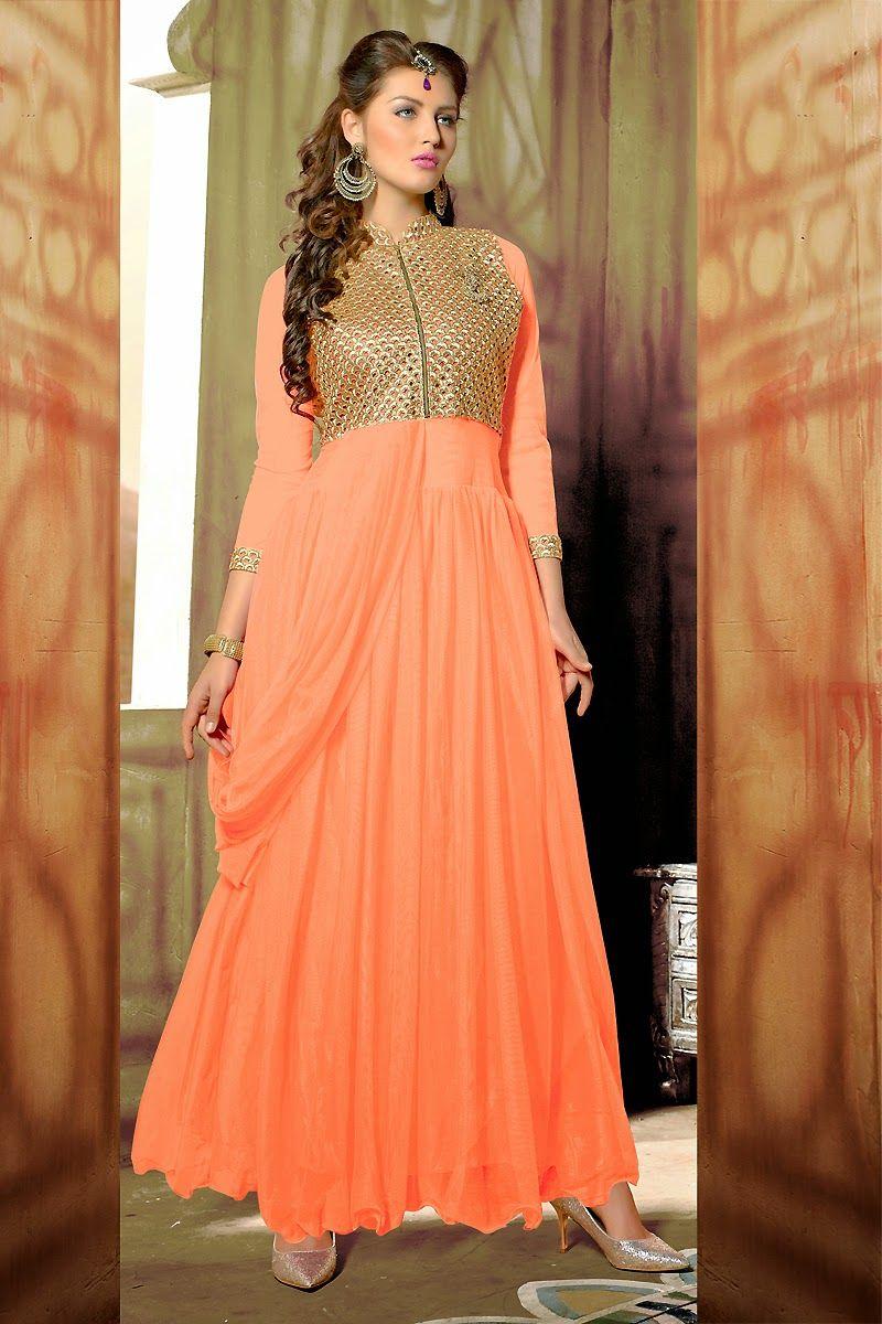 Grab your fashion with elegantorange designerwear gown very low