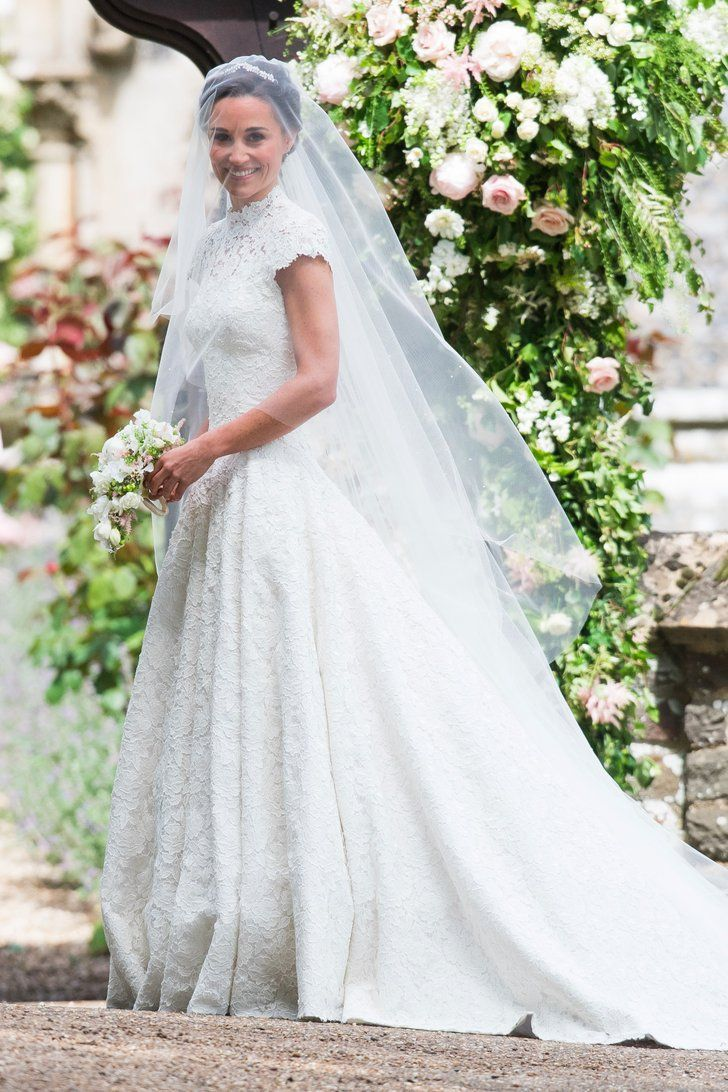 Pippa Middletons Wedding Dress Is A High Necked Cap Sleeved Dream