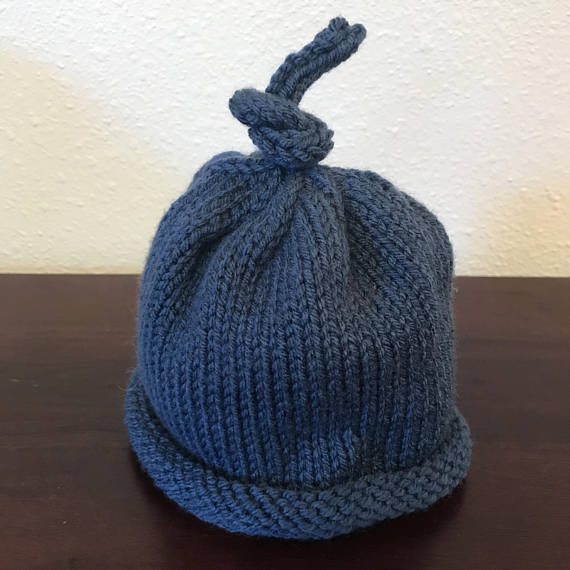 Knit Baby Umbilical Cord Hat - Infant 0-6 Months - I-cord topper ... 816333e58d85