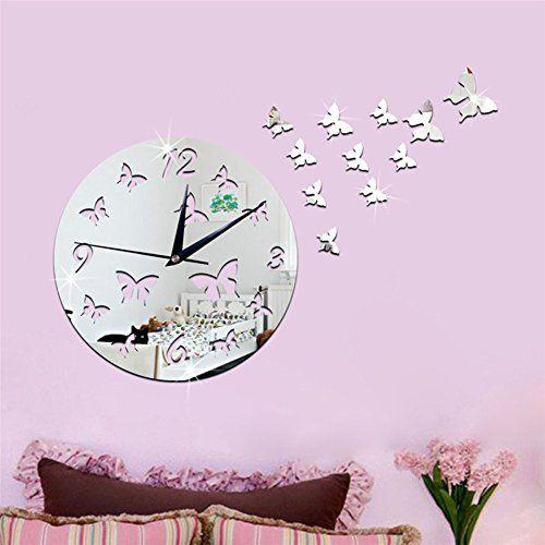 Modern Silent DIY Wall Clock 3D Butterfly Shape Mirror Surface Wall ...