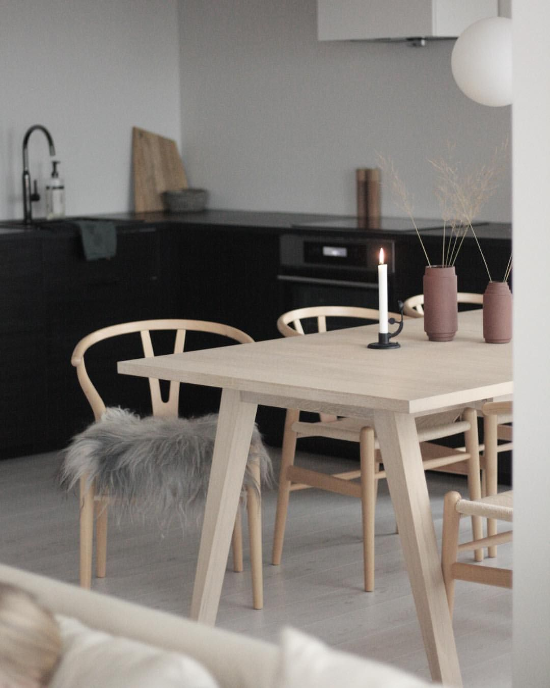 Beautiful Scandi Dining Space With Wishbone Chairs Open Plan Kitchen Living Room Scandi Dining Table Scandi Dining Chair