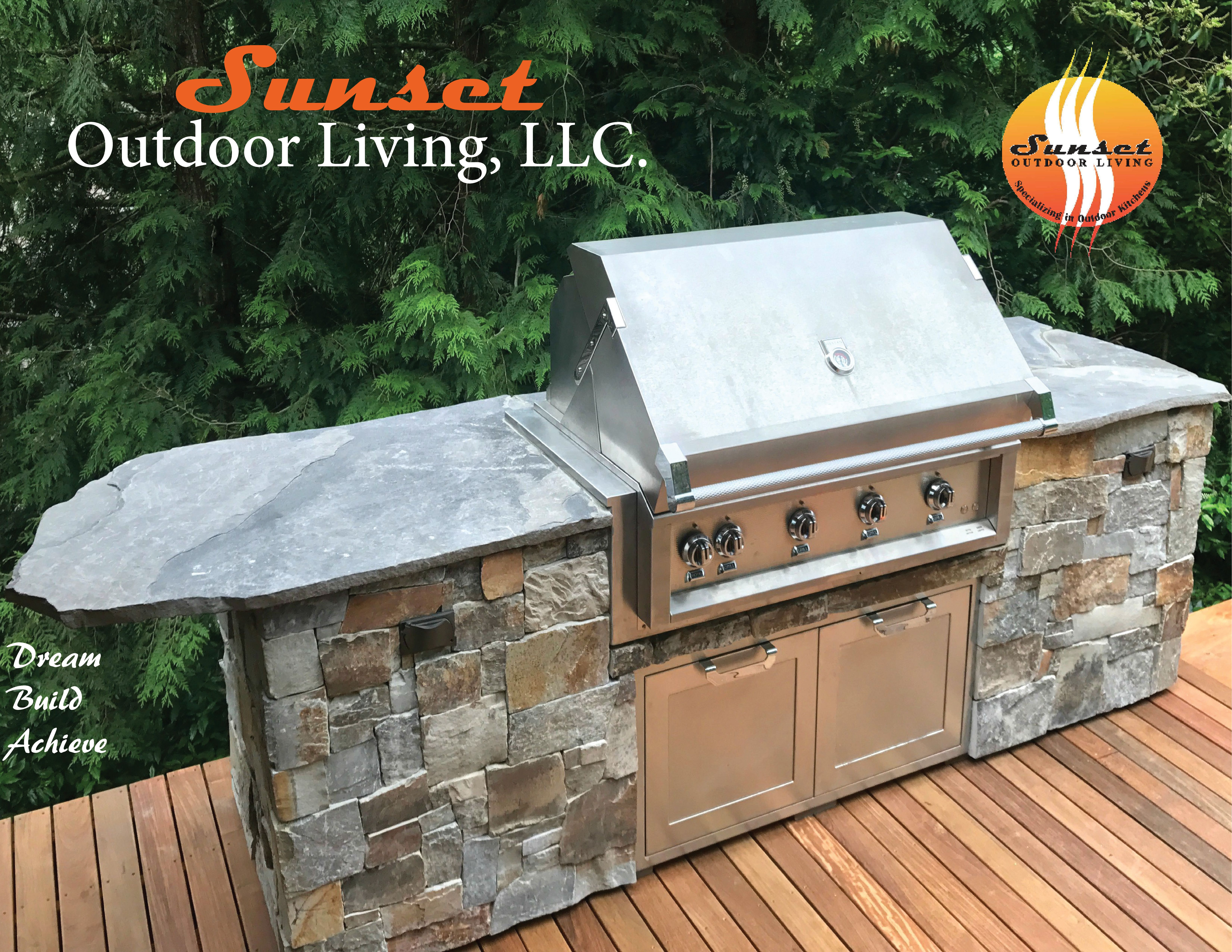 Outdoor Kitchen Designed Custom Created By Sunset Outdoor Living Llc Delivered Luxury Outdoor Kitchen Unique Kitchen Countertops Outdoor Kitchen Design