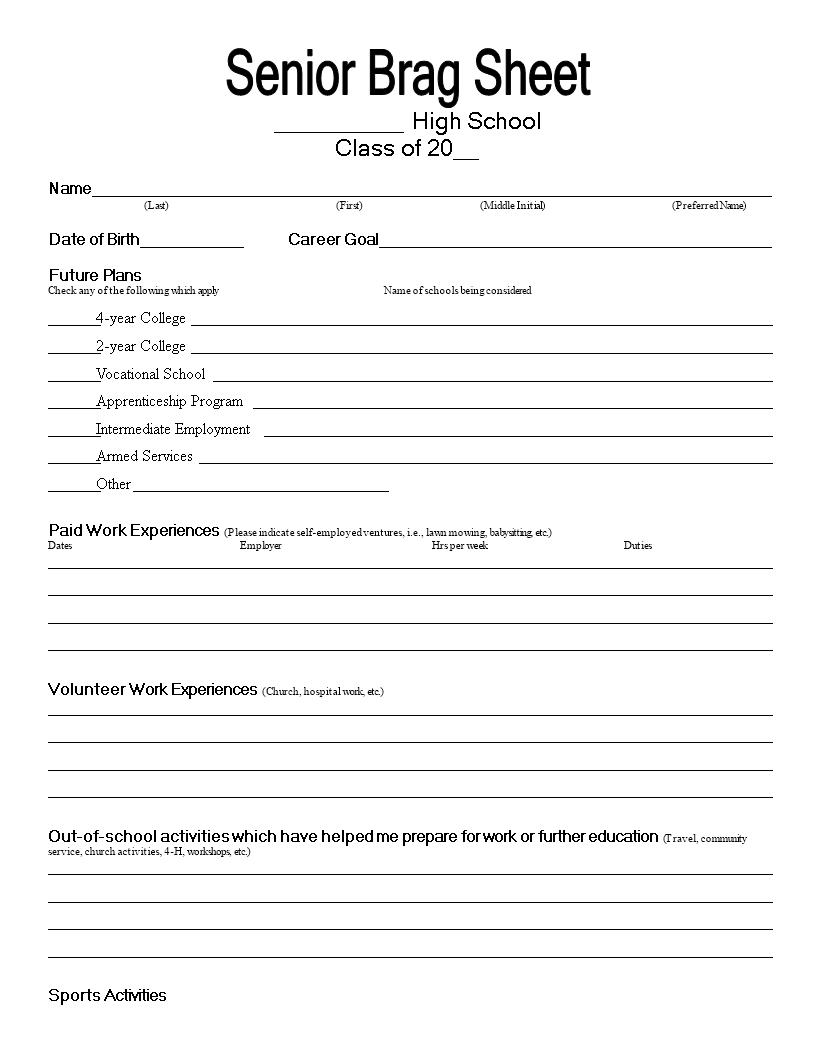 Senior Brag Common Core Sheet - Senior Brag Common Core Sheet