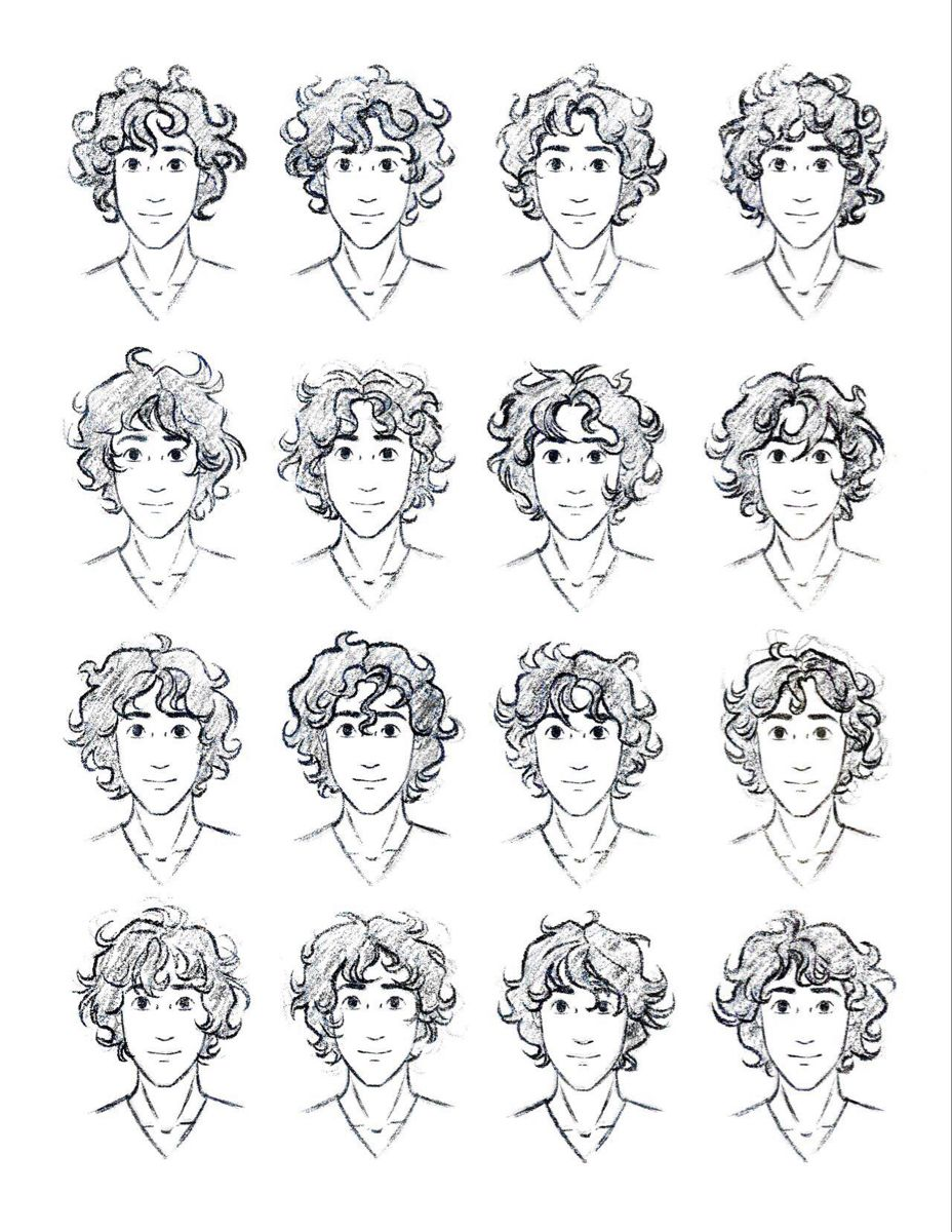 Curly Anime Hair In 2020 Curly Hair Drawing Boy Hair Drawing Hair Sketch